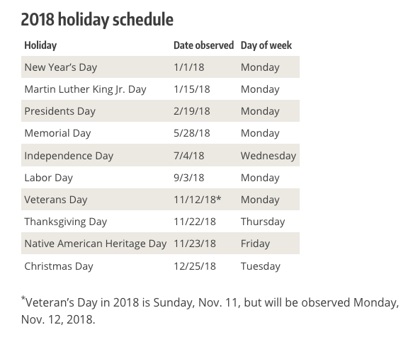 ppp_holiday schedule